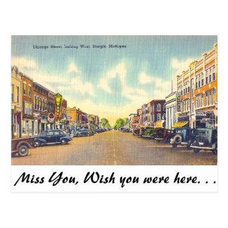 Chicago Street Sturgis Michigan Postcards