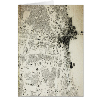 Chicago Streets and Buildings Vintage Map Card
