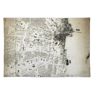 Chicago Streets and Buildings Vintage Map Cloth Placemat