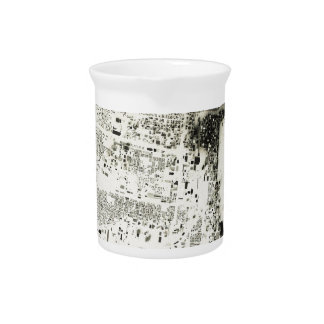Chicago Streets and Buildings Vintage Map Drink Pitcher