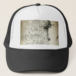 Chicago Streets and Buildings Vintage Map Trucker Hat