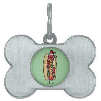 Chicago style hot dog Christmas Santa hat Pet ID Tag