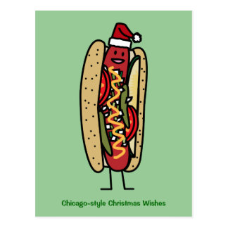Chicago style hot dog Christmas Santa hat Postcard