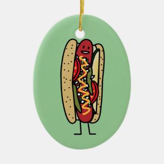 Chicago Style Hot Dog hot red poppy bun mustard Ceramic Ornament