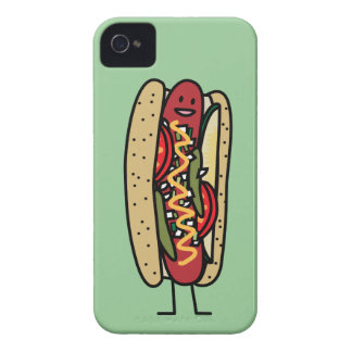 Chicago Style Hot Dog hot red poppy bun mustard iPhone 4 Cover