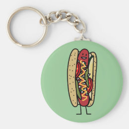 Chicago Style Hot Dog hot red poppy bun mustard Keychain