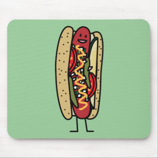 Chicago Style Hot Dog hot red poppy bun mustard Mouse Pad