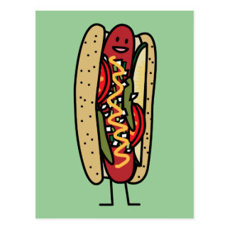 Chicago Style Hot Dog hot red poppy bun mustard Postcard