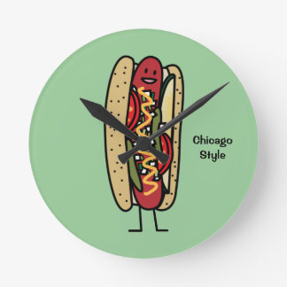 Chicago Style Hot Dog hot red poppy bun mustard Round Clock