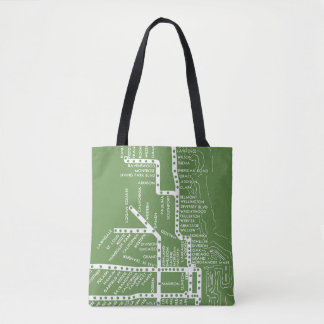 Chicago Subway Map w/ Train stops colorful vintag Tote Bag