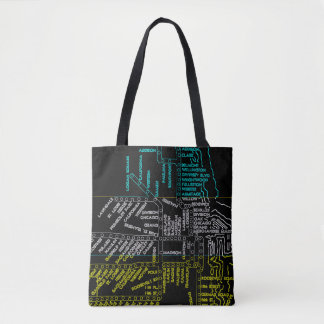 Chicago Subway Train Vintage System Map Route NEON Tote Bag