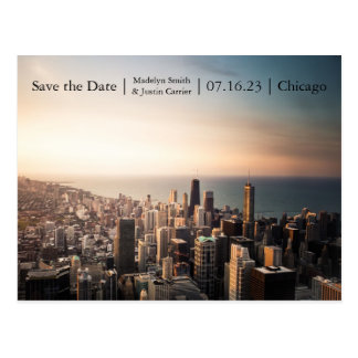 Chicago Sunset Photo - Save the Date Post Card