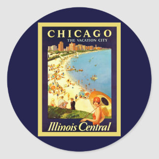 Chicago ~ The Vacation City ~ Vintage Travel Classic Round Sticker