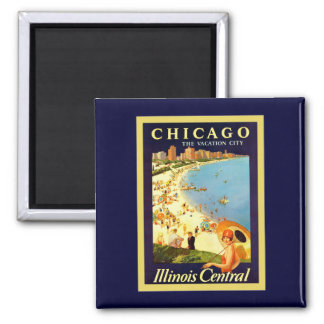 Chicago ~ The Vacation City ~ Vintage Travel Refrigerator Magnet
