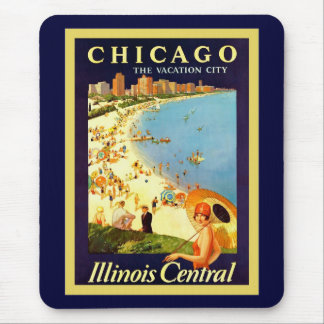 Chicago ~ The Vacation City ~ Vintage Travel Mouse Pad