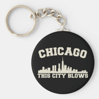 Chicago: This City Blows Basic Round Button Keychain