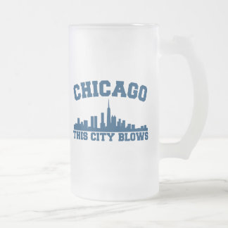 Chicago: This City Blows 16 Oz Frosted Glass Beer Mug