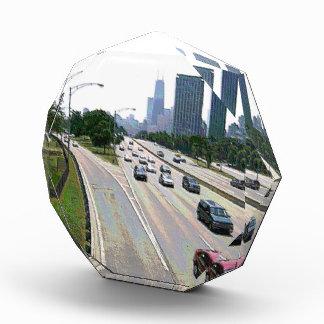 Chicago Traffic in Sandstone Acrylic Award