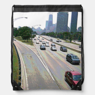 Chicago Traffic in Sandstone Drawstring Backpack