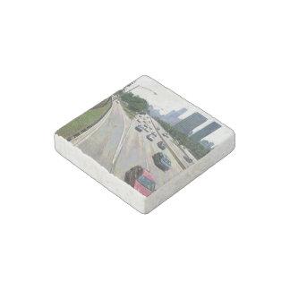 Chicago Traffic in Sandstone Stone Magnet