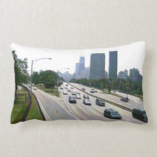 Chicago Traffic in Sandstone Throw Pillow