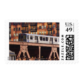 Chicago Train at Riverbend Postage Stamps