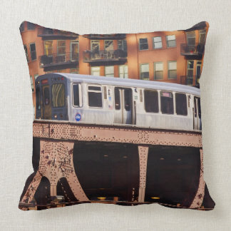 Chicago Train at Riverbend Throw Pillow