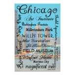 Chicago Tribute With Chicago Skyline Background Poster