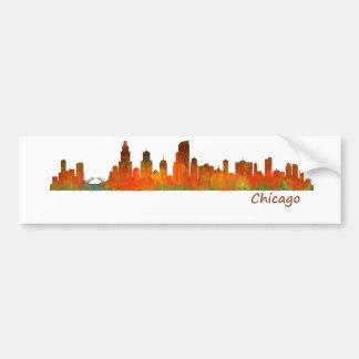 Chicago U.S. Skyline cityscape Bumper Sticker