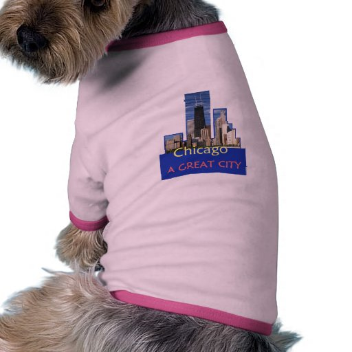 CHICAGO una gran ropa del mascota de la ciudad Camiseta Con Mangas Para Perro