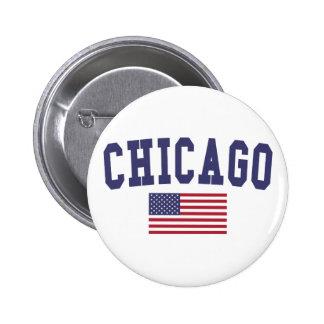Chicago US Flag 2 Inch Round Button