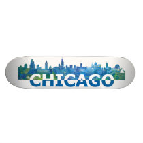 Chicago USA Skyline Skateboard