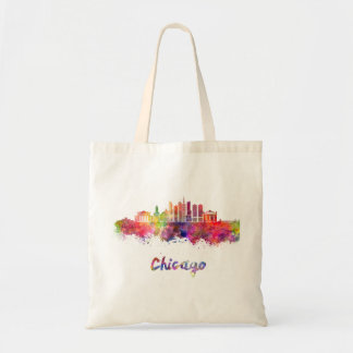 Chicago V2 skyline in watercolor Tote Bag