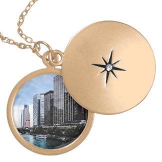 Chicago - View From Michigan Avenue Bridge Locket Necklace