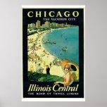 """""""Chicago - vintage de la ciudad de las vacaciones"""" Posters"""