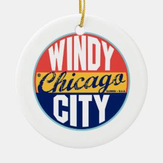 Chicago Vintage Label Ceramic Ornament