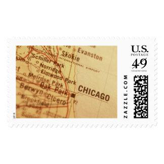 CHICAGO Vintage Map Postage