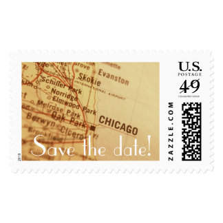 CHICAGO Vintage Map Save the Date Postage