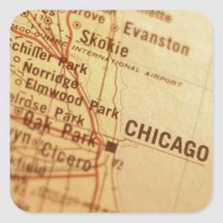 CHICAGO Vintage Map Square Sticker