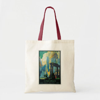 """""""Chicago"""" Vintage Travel Poster Canvas Bags"""