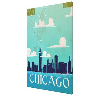 Chicago vintage travel poster canvas print