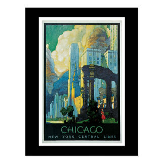 """Chicago"" Vintage Travel Poster Postcard"