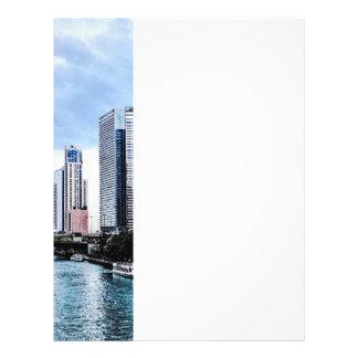 Chicago - visión desde el puente de la avenida de tarjetas informativas