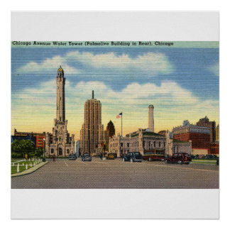 Chicago Water Tower Vintage Poster