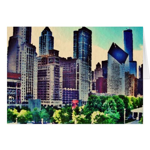 Chicago watercolor greeting card