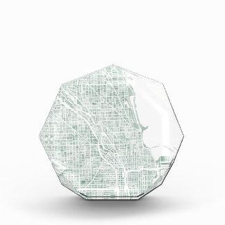 Chicago watercolor map seaglass blue green award