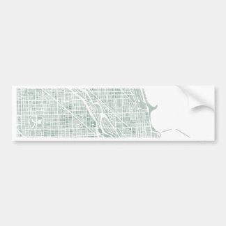 Chicago watercolor map seaglass blue green car bumper sticker