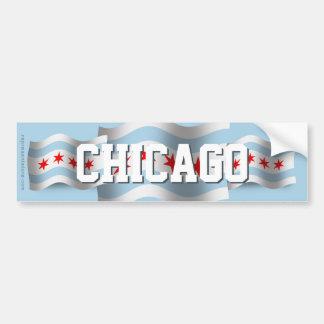 Chicago Waving Flag Bumper Sticker