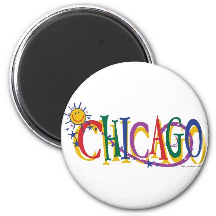 Chicago-With-SUn---KIDS 2 Inch Round Magnet