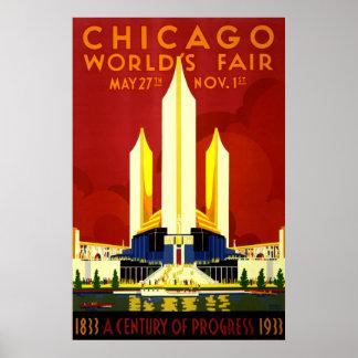 Chicago World s Fair Vintage Travel Print